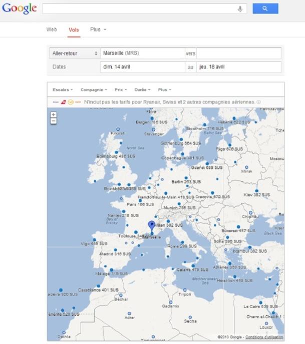 Google Flight Search a fait son entrée sur le marché français lundi 18 mars 2013 - Capture d'écran