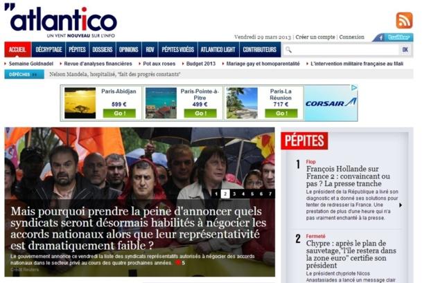 Atlantico.fr a été lancé en septembre 2011 par des anciens journalistes de LCI, TF1, Europe 1 et RTL - Capture d'écran