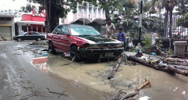 Paysage de désolation dans la capitale de l'Ile Maurice au lendemain des inondantions /photo L'Express.mu dr (VIDEO cliquez)