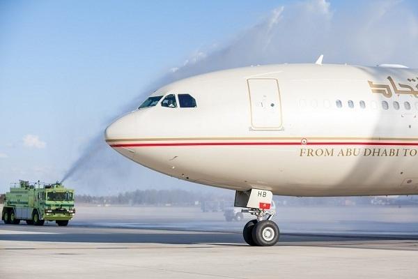 Le vol inaugural d'Etihad Airways arrive à l'aéroport international de Dulles, Washington D.C. - Photo DR
