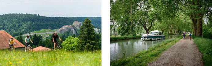 La GTJ à vélo à la Cluse et Mijoux © Michel Joly / Bourgogne-Franche-Comté Tourisme - Vélo le long de l'Eurovelo6 à Dole © Michel Joly / Bourgogne-Franche-Comté Tourisme