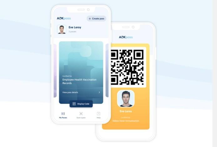 capture d'écran de l'appli  ICC AOKpass