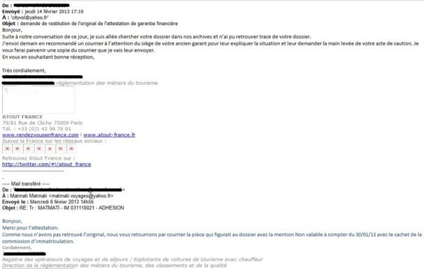 Extraits des mails échangés entre Atout France et M. Boudjemaa en possession de TourMaG.com - Cliquer pour zoomer
