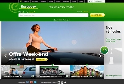 Le design du site Internet d'Europcar a été repensé - Capture d'écran