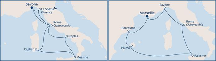 Itinéraires Costa Croisières