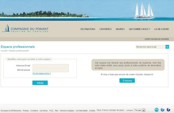 La COmpagnie du Ponant a décidé de lancer un nouveau site BtoB - Capture d'écran