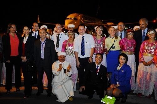 L'aéroport de Marrakech avait préparé un comité d'accueil pour l'ouverture de la première base marocaine de Ryanair - Photo DR