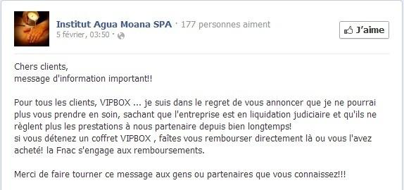 Le message posté sur la page Facebook de l'Institut Agua Moana SPA le 19 février 2013 - Capture d'écran