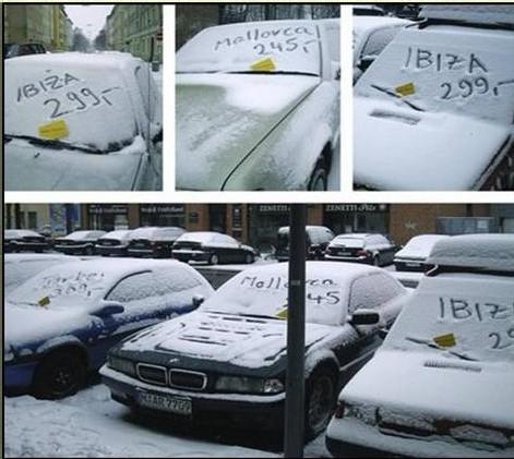 Il fallait y penser : faire de la neige un support pub pour le voyage !