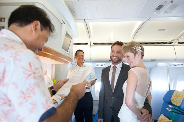 Le discours de mariage a été prononcé par le chef de cabine principal - DR : Air Tahiti Nui