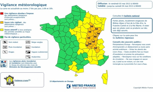 Météo France : 10 départements en vigilance orange