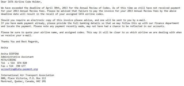 Faux email reçu à la rédaction - DR