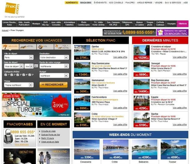 """Karavel a pris la suite de LastMinute.com dans le traitement des ventes de la rubrique """"Voyages"""" du site fnac.com - Capture d'écran"""
