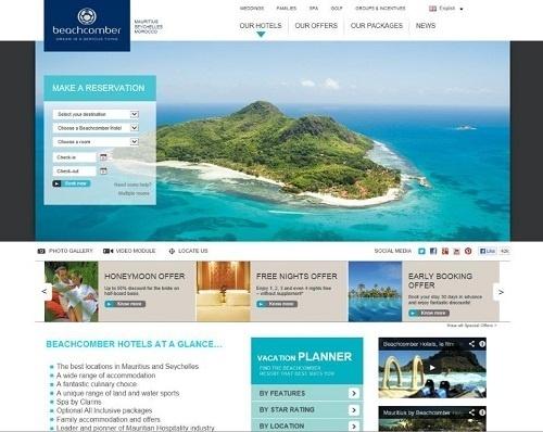 La nouvelle version du site Internet de Beachcomber Hotels fait la part belle aux visuels - Capture d'écran