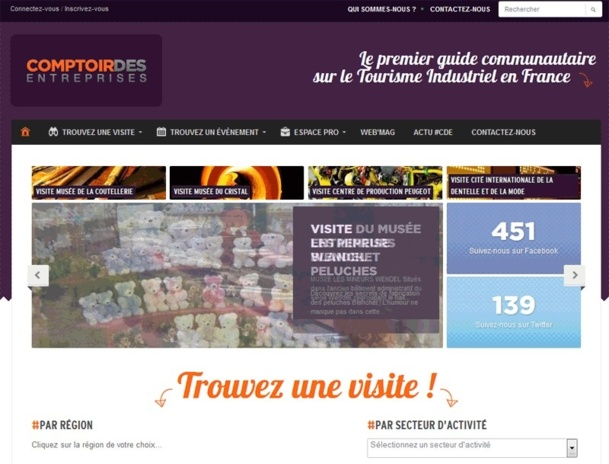 """Le site de Comptoir des entreprises se positionne comme """"étant premier guide communautaire sur le tourisme industriel"""" - Capture Ecran"""