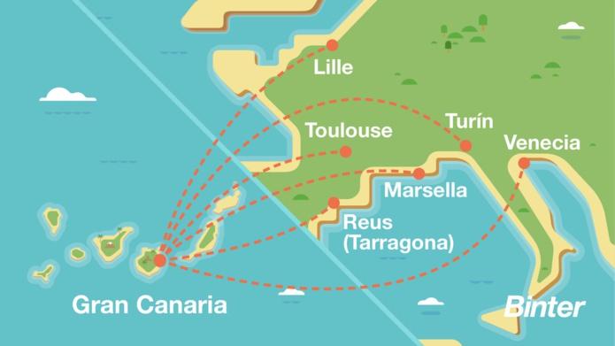 Le réseau de Binter qui relie Grande Canarie aux Canaries en Espagne à Marseille, Lille et Toulouse - DR Facebook
