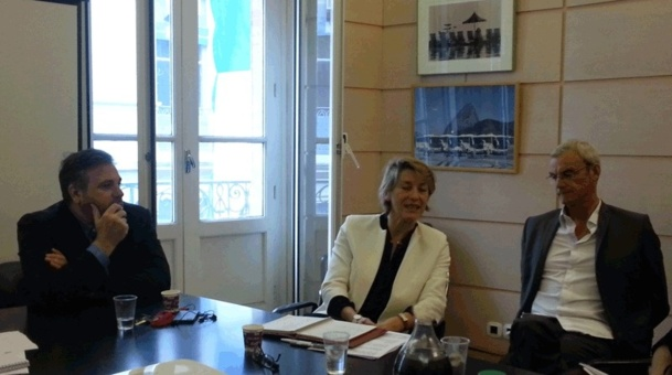 D. Cohen, PDT du directoire de FRAM,  Eve-Lise Blanc-Deleuze Directrice Commerciale et Joost Bourlon Directeur de l'exploitation - Photo JdL