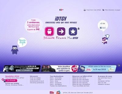 La nouvelle version du site de réservation d'iDTGV fait la part belle aux couleurs acidulées - Capture d'écran