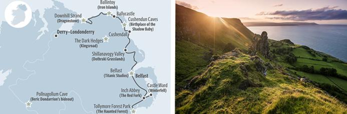 Carte des lieux de tournage de GoT ©Tourism Ireland - Galboly, The Glens of Antrim Runestone ©Tourism Northern Ireland