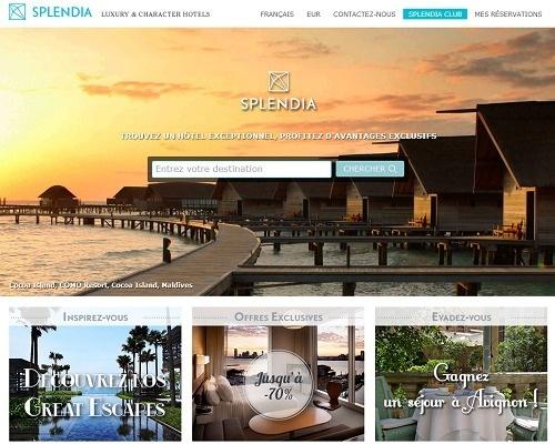La page daccueil de la nouvelle version du site de Splendia offre une large place aux visuels haute définition - Capture d'écran