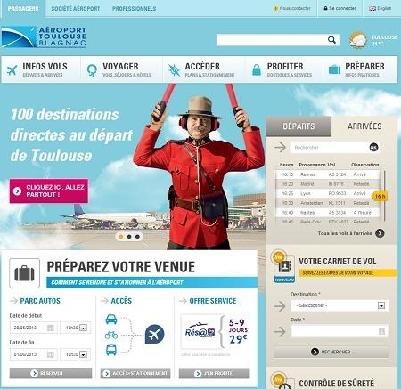 Toulouse-Blagnac lance une nouvelle version de son site Internet - Capture d'écran
