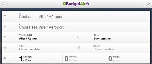 Le site mobile de BudgetAir.fr offre une navigation adaptée aux smartphones - Capture d'écran