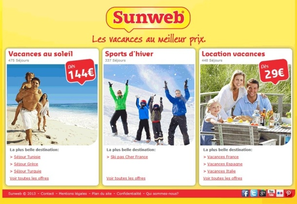 Sunweb Vacances, la filiale française de Sundio Group, est composée de 2 marques en France : Sunweb, dédiée aux séjours individuels, et Odyssée (anciennement GotoTravel), experte sur le voyage en groupe et étudiant - Capture écran