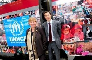 Pascale Moreau, représentante régionale de l'UNHCR pour l'Europe de l'Ouest et Franck Gervais, CEO de Thalys International © Thalys - Photo Bénédicte Maindiaux