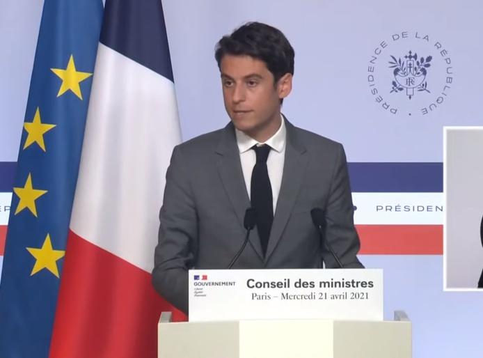 Gabriel Attal, Porte parole du gouvernement est revenu sur la levée des restrictions au 3 mai et à la mi-mai - DR