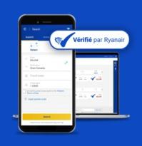 Le Label Vérifié est affiché sous forme d'un V pour cocher et est visible sur le site et sur l'application - DR : Ryanair
