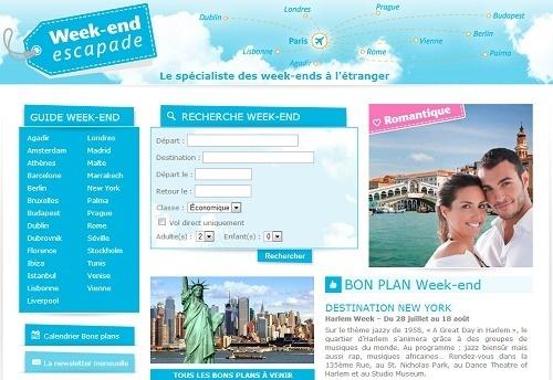 La nouvelle charte graphique de Week-end-escapade.com offre une présentation plus claire pour un processus de réservation plus simple - Capture d'écran
