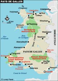 Carte du Pays de Galles © Lonely Planet