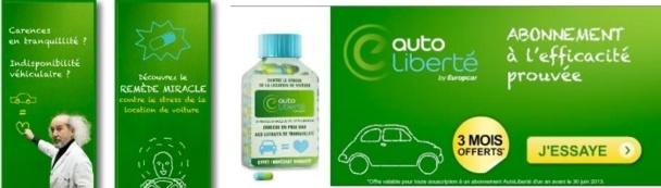 Europcar fait la promotion de son offre de 3 mois gratuits sur le programme AutoLiberté en ligne - DR