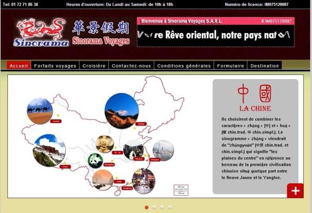 D'ici quelques jours, le site Internet de Sinorama Voyages proposera un module de réservation en ligne - Capture d'écran