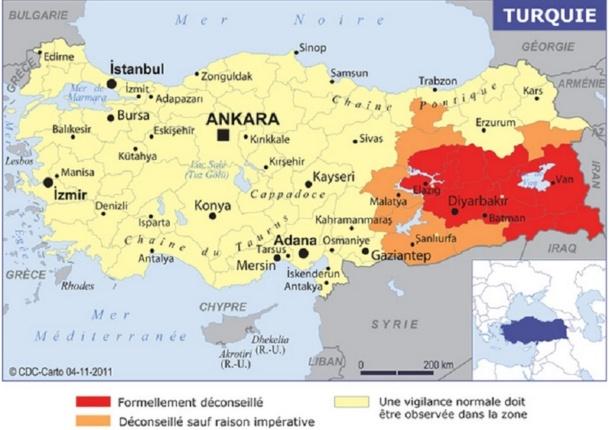 """Dans ses """"Conseils aux Voyageurs"""", le Quai d'Orsay recommande seulement aux Français d'éviter les zones où se situent les manifestations, en Turquie - DR"""