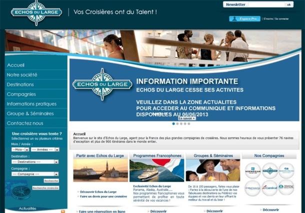 Echos du Large commercialisait Crystal Cruises, Holland America, Norwegian Cruise Line, Princess Cruises et Carnival, toutes d'excellentes compagnies mais dont le moins qu'on puisse dire est que le marché français n'était pas leur priorité - Capture écran
