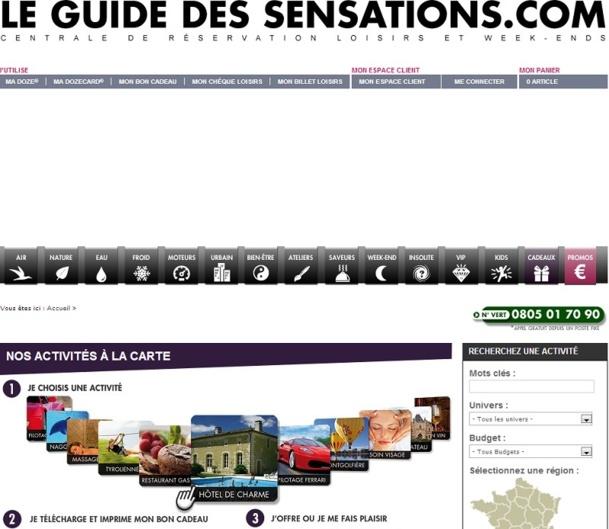 Depuis quelques jours, le site Internet du Guide des Sensations est indisponible et personne ne répond au numéro vert prévu pour renseigner la clientèle - Capture d'écran