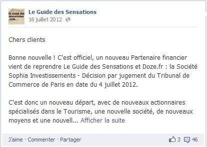 En juillet 2012, un message avait été publié sur la page Facebook du Guide des Sensations pour annoncer la reprise de la société - Capture d'écran