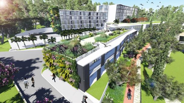 Le futur Business Resort Campus All Suite Sophia Antipolis proposera 109 suites de 50 m2 modulables chacune en deux chambres de 25 m2, qui seront adossées à l'actuel Centre d'affaires - DR