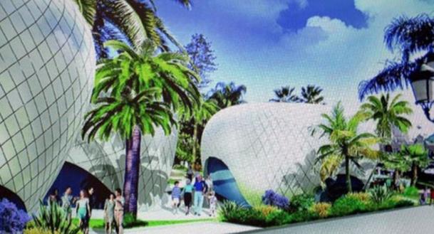 L'architecte Richard Martinet a conçu un ensemble des bâtiments aux formes arrondies, semblables à des galets qui seront rassemblés sur la pente douce entre l'avenue de la Costa et la place du Casino - DR