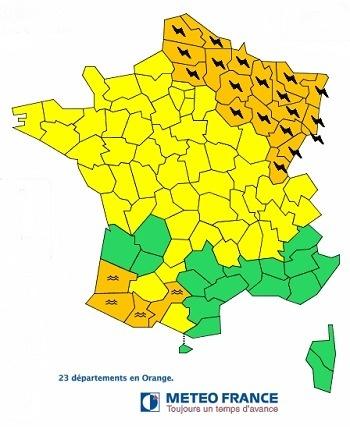 Météo France place 23 départements en alerte orange aux orages et aux crues jeudi 20 juin 2013 - DR