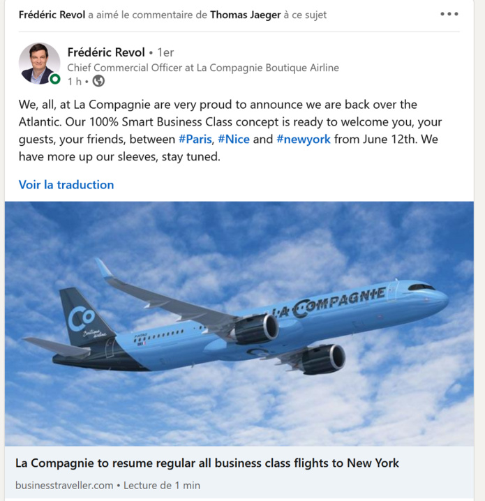 Paris - New York : La Compagnie reprendra ses vols dès le 12 juin