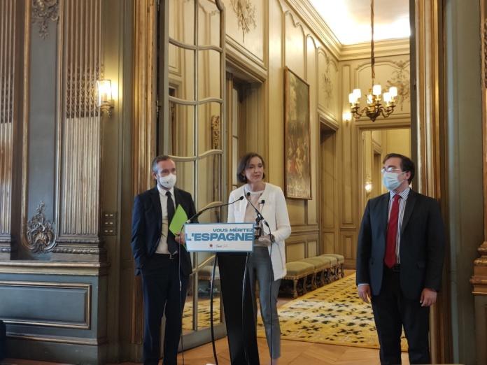 Reyes Maroto, ministre espagnole du tourisme, mardi 25 mai 2021 à l'ambassade d'Espagne de Paris © PG TM