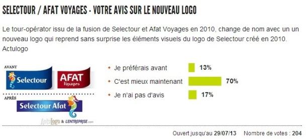 Le nouveau logo de Selectour Afat est jugé par les internautes jusqu'au 29 juillet 2013 - Capture d'écran