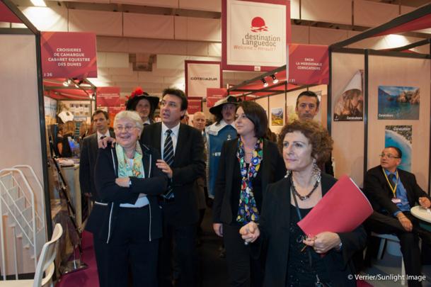 Annette Masson, Présidente FFTST, Sylvia Pinel, ministre du tourisme et Arlette Alphaize-Furet directrice du salon lors de l'édition 2012. Crédit Photo VERRIER-SUNLIGHTIMAGE