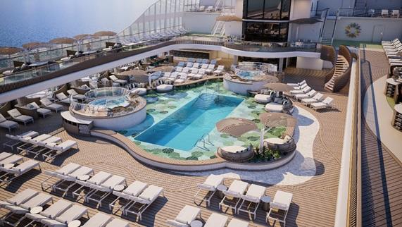 Oceania Cruises, navire Vista :  le pont piscine, conçu comme une oasis - DR