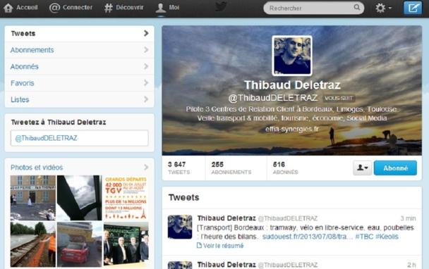 La page profil de Thibaud Deletraz sur Twitter - Capture d'écran