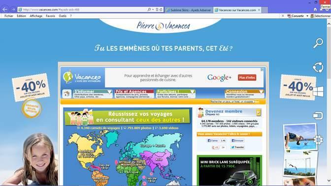 Exemple d'intégration d'un habillage Pierre & Vacances sur le site vacanceo.com - DR