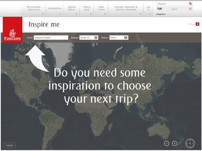 L'outil Inspire Me se présente sous la forme d'une mappemonde et d'un petit moteur de recherche : aéroport de départ et dates de voyage- © 2013 Emirates. All Rights Reserved.