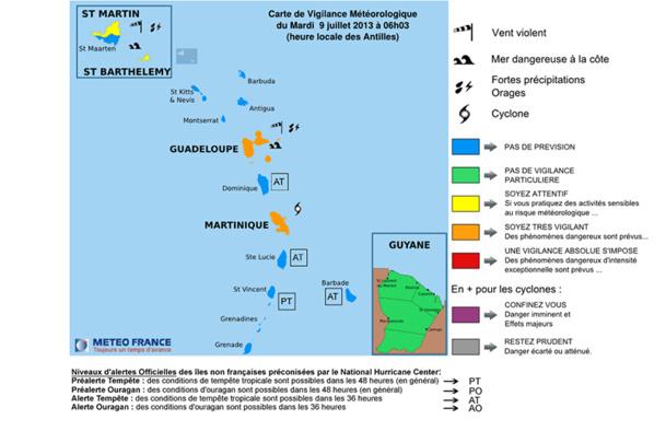 Image d'illustration pour Vigilance en Guadeloupe et Martinique face à Chantal